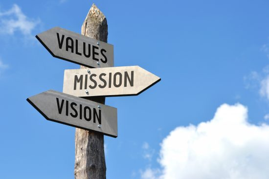 Wooden road sign with showing Values, Mission, Vision
